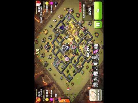 COC combo Hanoi & Friends war hall 9 with 2 spells