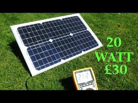 A cheap 20 watt 1.2 amp Ebay solar panel battery charger. 2016