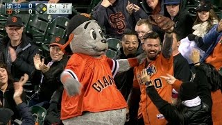 Fan makes great catch, gets hug from Lou Seal