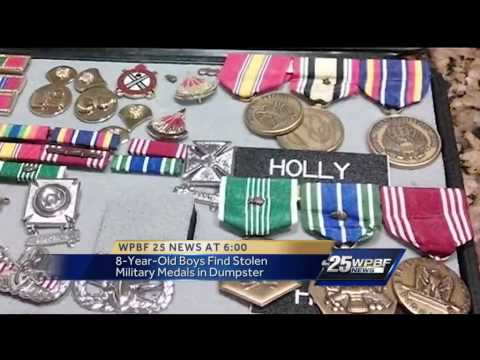 Boys find stolen military medals in garbage