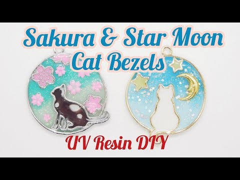 UV Resin DIY Sakure & Star Moon Cat Bezels