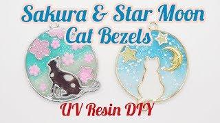 UV Resin DIY Sakure & Star Moon Cat Bezels
