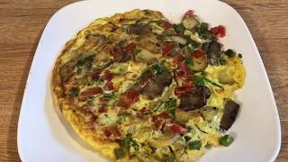 Steak and Potato Omelet (Frittata) made with leftovers