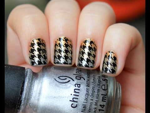 Taylor Swift Inspired Houndstooth Nail Tutorial