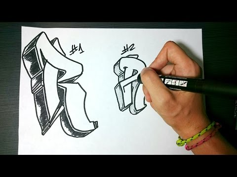 """How to draw Graffiti Letter """"R"""" on paper"""