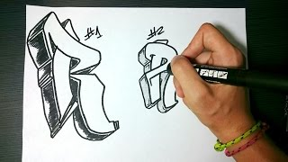 "How to draw Graffiti Letter ""R"" on paper"