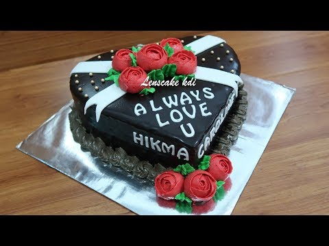 Recipe How to Make Chocolate Ganache Easy   Decorating Cake Birthday Rose Flowers Red