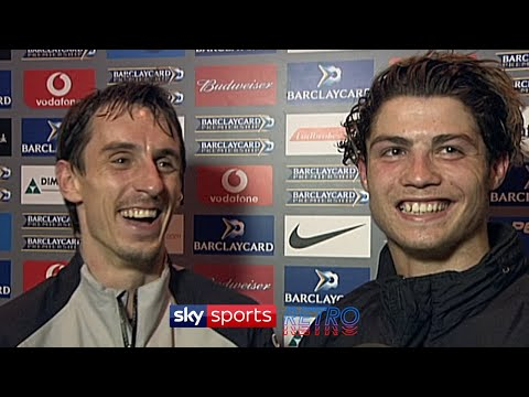 Christiano Ronaldo as an awkward teenager in one of his first interviews as a United player, with Gary Neville acting as his translator