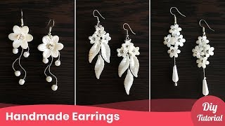 3 Simple Wedding Pearl Earrings. Bridal Drop Earrings Tutorial. Craft Ideas