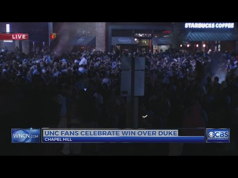 UNC fans celebrate win over Duke