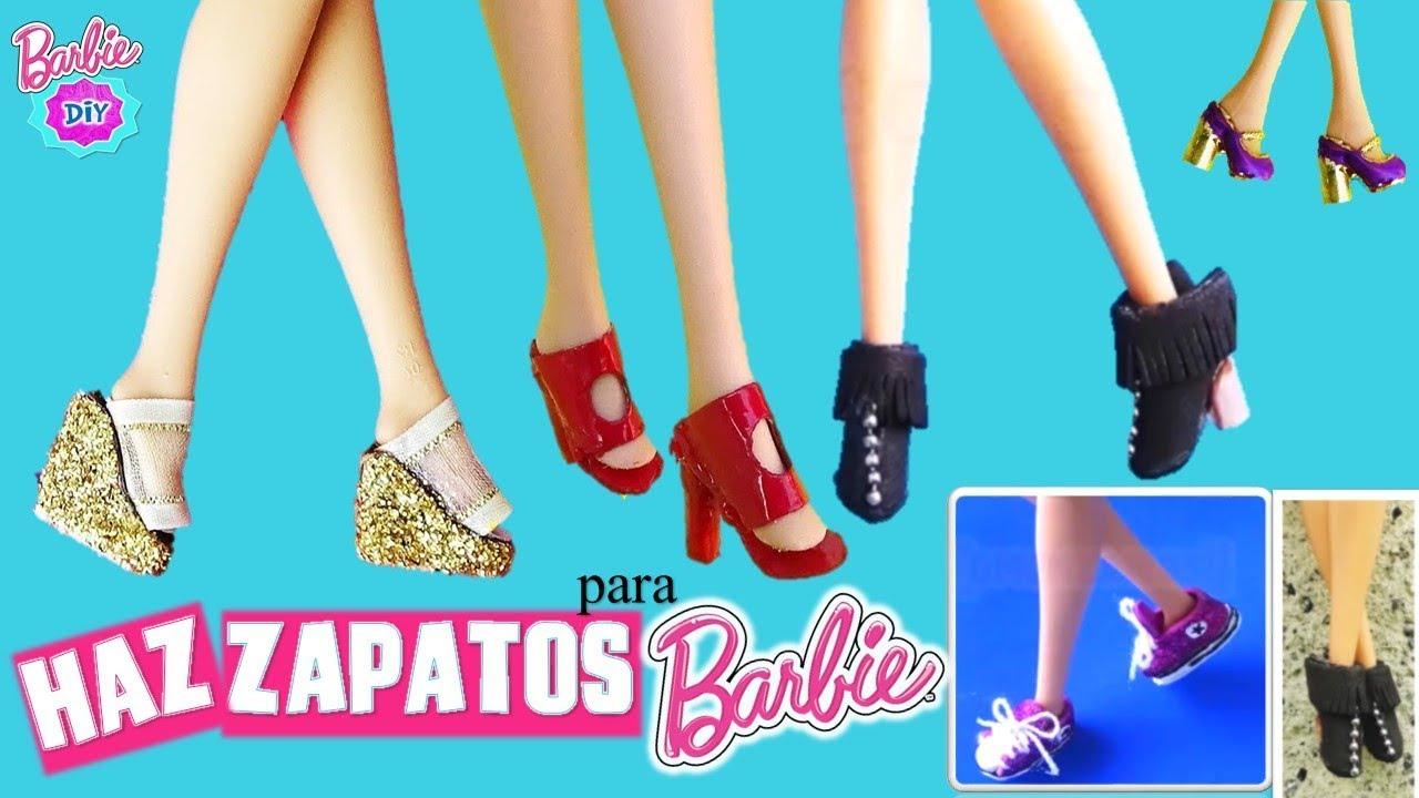 2dc7b3883 Como hacer ZAPATOS para MUÑECAS Barbie    5 Estilos  Botas