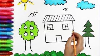 El Sol y La Nube Con Casa, Árbol   Cómo dibujar y colorear los para niños