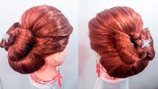 Прическа объемная на средние и длинные волосы  прически бантик и валик