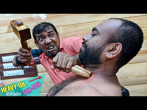 Neck Pain Relief Heavy Oil Tok Sen Massage Therapy By Asim Barber / Hard Neck Cracking / ASMR