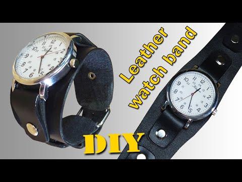 Мужской кожаный браслет для часов своими руками