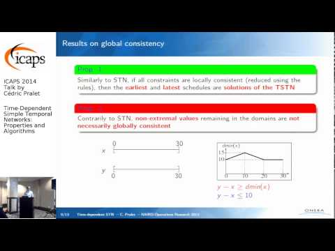 "ICAPS 2014: Cédric Pralet on ""Time-Dependent Simple Temporal Networks: Properties and Algorithms"""