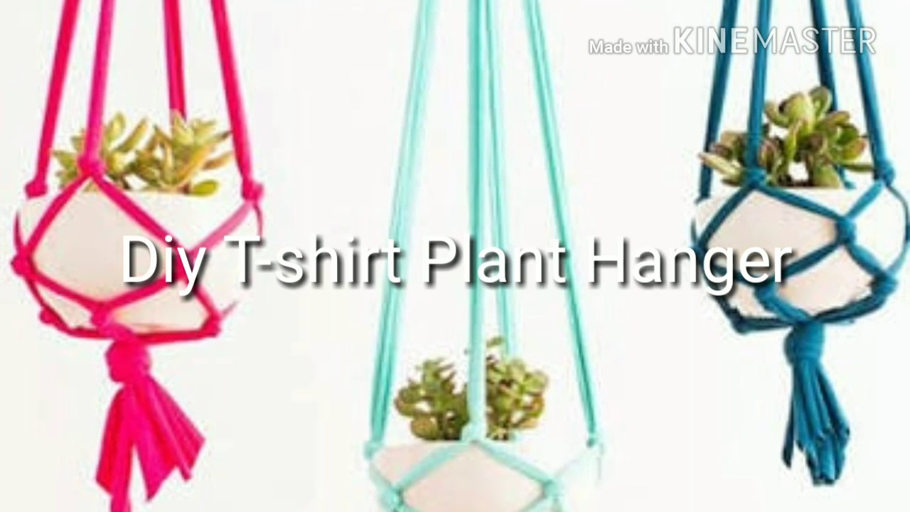 diy t shirt plant hanger how to hang plants youtube