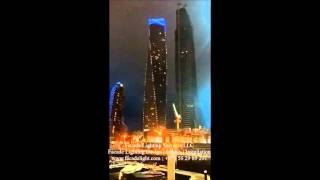 Facade Lighting for Cayan Tower - Dubai Marina by Facade Lighting Services