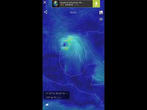 Tropical Depression Harvey - forecast track moving toward Texas (Wind Map App)