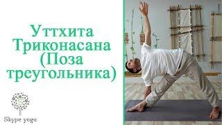 Уттхита Триконасана (Поза треугольника). Видео урок. Йога онлайн.