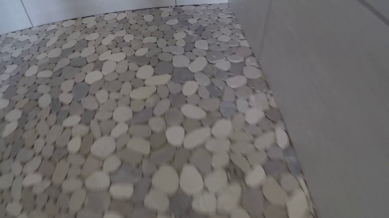 PEBBLE RIVER ROCK WALK IN SHOWER FLOOR INSTALL DIY