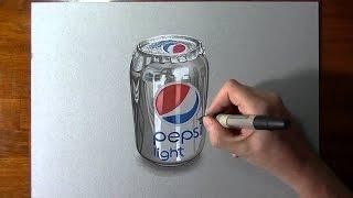 Desenho Uma Lata Pepsi 3D (Realista) - Tu Desenhos