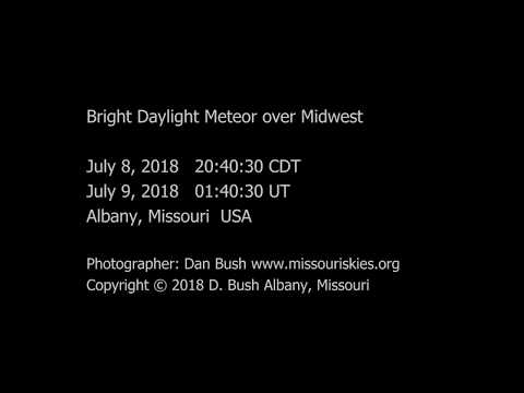 July 8 2018 Daylight Meteor over Midwest