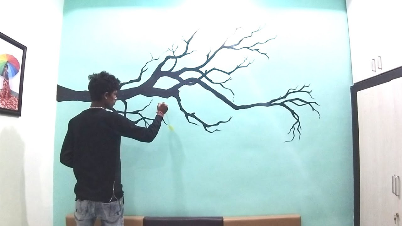 Birds With Tree Wall Painting Bedroom Youtube