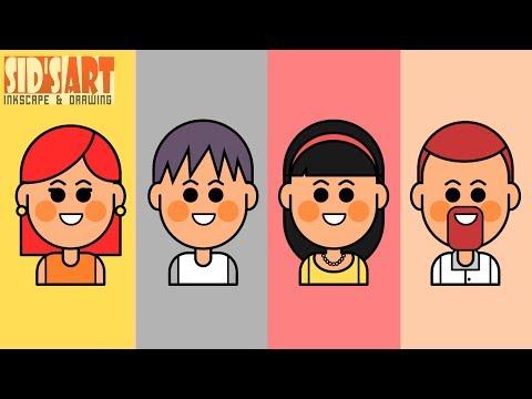 How To Draw Cartoon Vector Avatars - 1 | Inkscape Tutorial