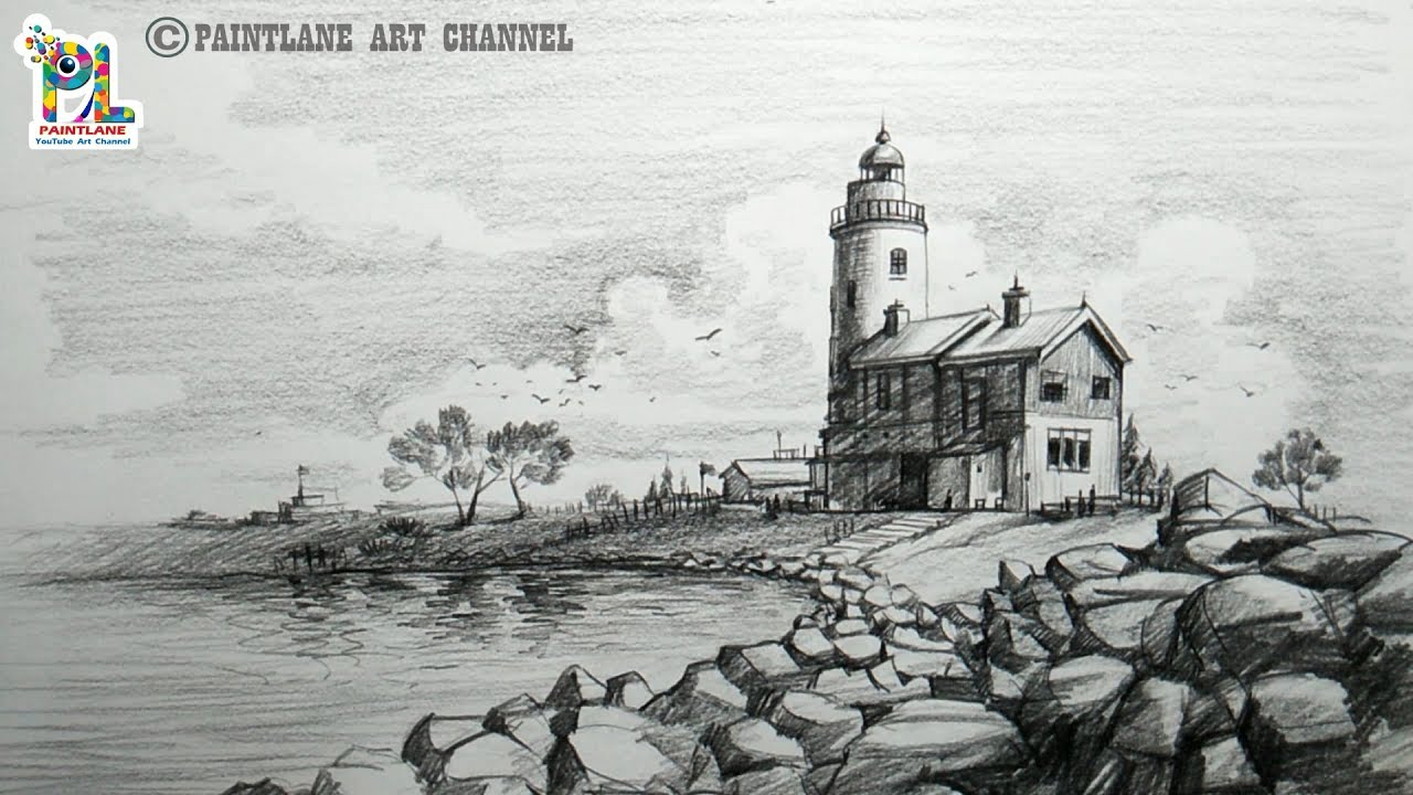 How to draw and shade a scenery of old wooden light house in seascape step by step