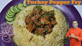 Pressure Cooker Turkey Pepper Fry with Biryani rice - I had to eat turkey For Thanks Giving - did it