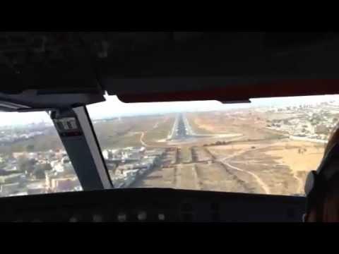 Visual approach and landing at Dakar, Senegal SN205 14 Mar 2013 A330-200 SNBA Great view