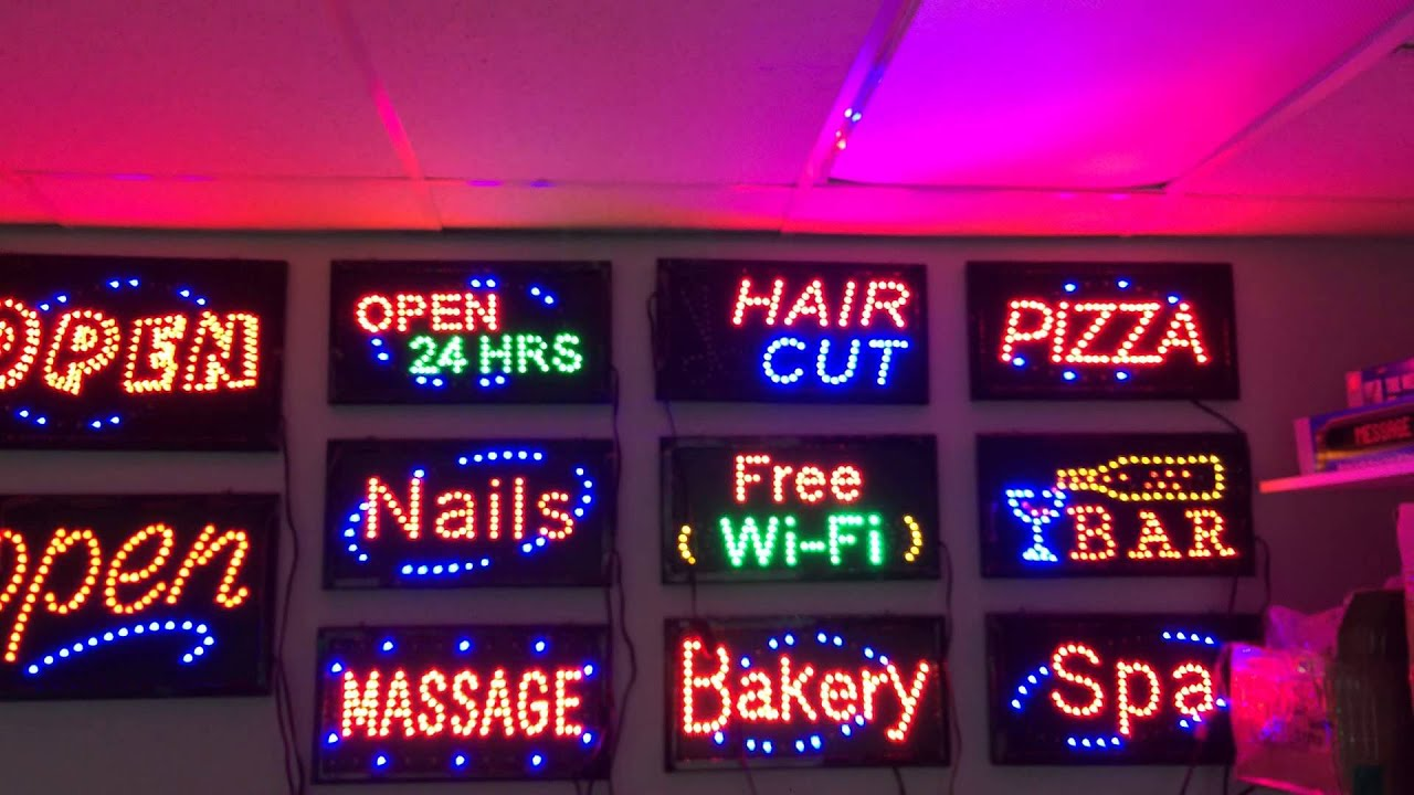 Open sign Nail Hair Cut Spa Bakery Massage Signs Toronto - YouTube