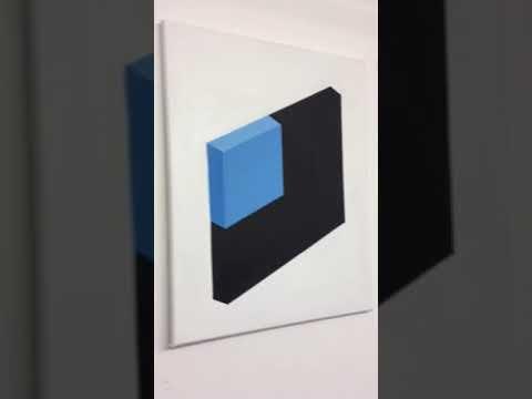 Original Framed Modern Geometric Op Art Painting