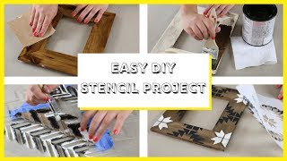 How To Stencil Wood Picture Frames With Tile & Craft Stencils