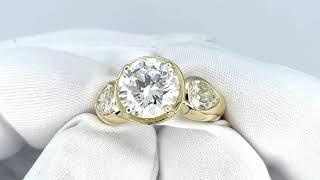 Vidéo: Solitaire en Or jaune 18k avec Diamant de 3,19 Cts G-VS2 (HRD) .Taille 50.