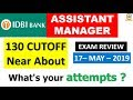 IDBI Assistant Manager Cutoff & REVIEW (17 MAY 2019 ) EXAM DATE