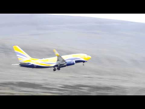 Europe Airpost B737 takeoff from Svalbard Airport LYR