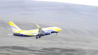 Europe Airpost B737 takeoff from Svalbard Airport LYR