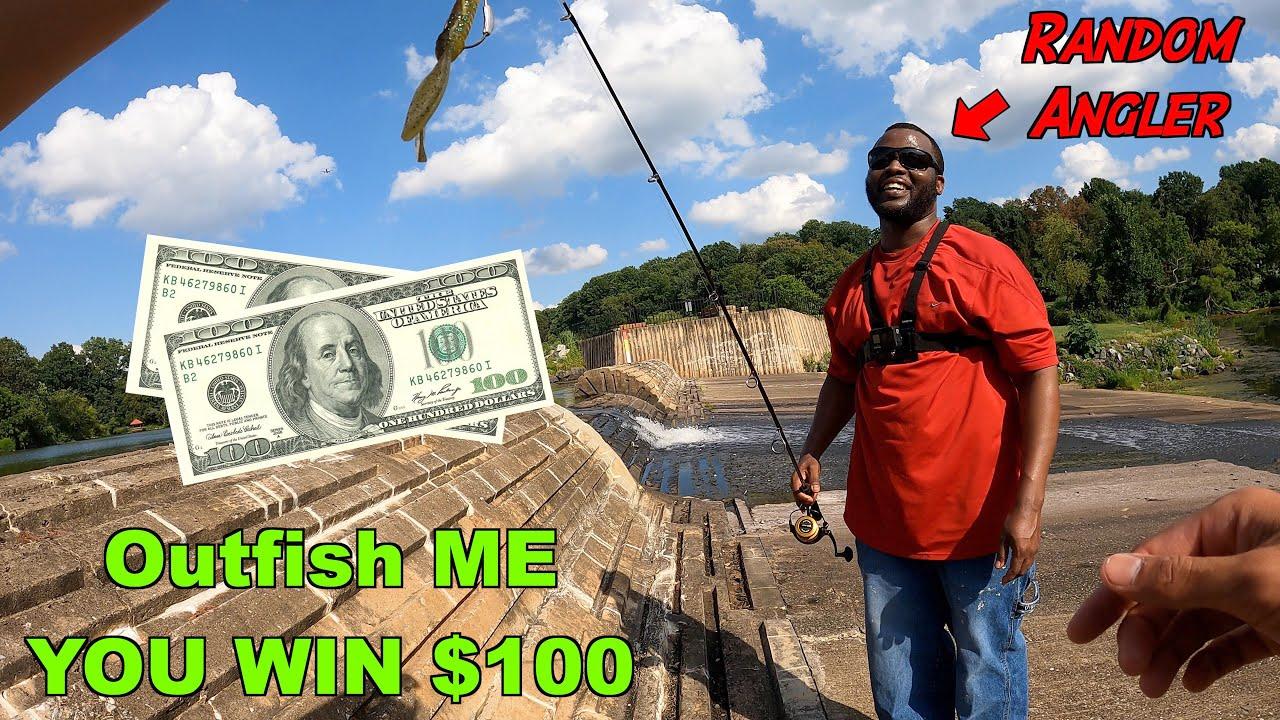 Beat Me at Fishing, You WIN $100 Challenge!!! (vs. Random People at a Lake!)