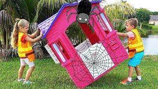 Diana and Roma repairing playhouses