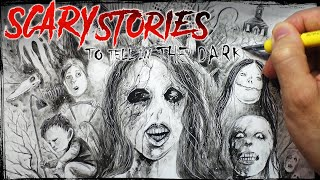 DIP PEN ART + 9 Scary Stories to Tell in the Dark (Creepypasta Story + Drawing)