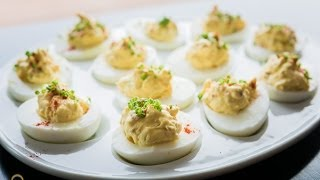Chef Becky's Bacon Cheddar Chive Deviled Eggs