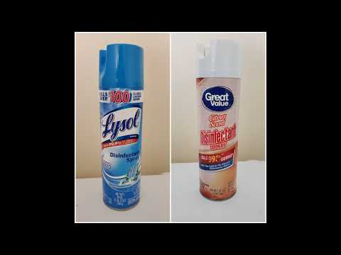 lysol-disinfectant-spray-vs.-walmart's-great-value-disinfectant-spray