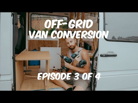 How to CONVERT a SPRINTER van | Episode 3 of 4 - Bed Frame, Solar Panels & Cabinets