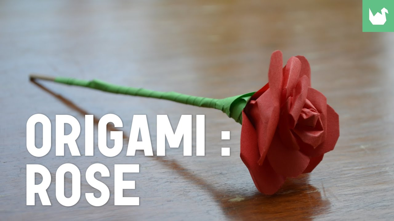 origami rose youtube. Black Bedroom Furniture Sets. Home Design Ideas