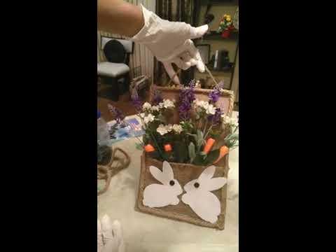 DOLLAR TREE EASTER FARMHOUSE DIY/WALL HANGING IDEAS/EASTER BUNNY WALL DECOR
