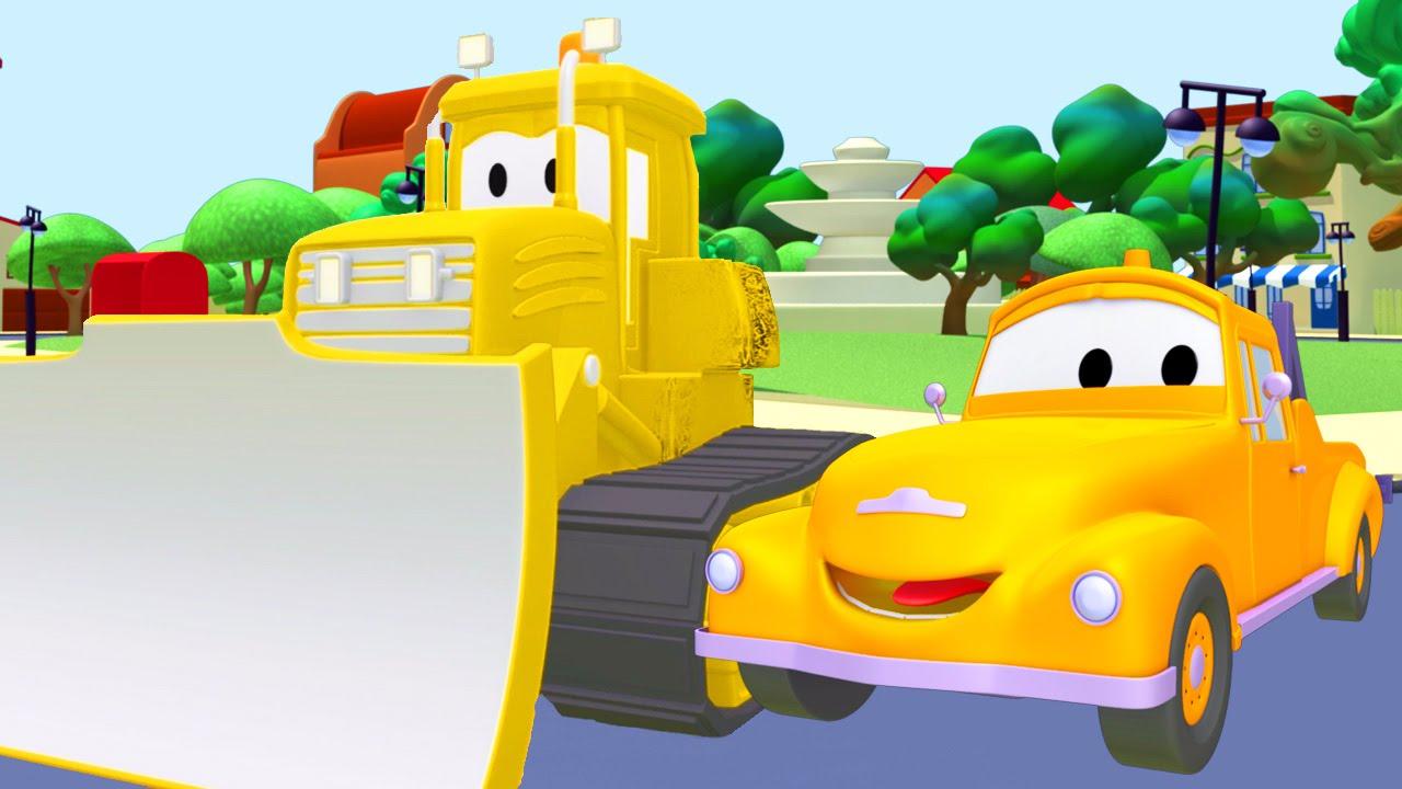 Tom il carro attrezzi e bulldozer in car city cartone