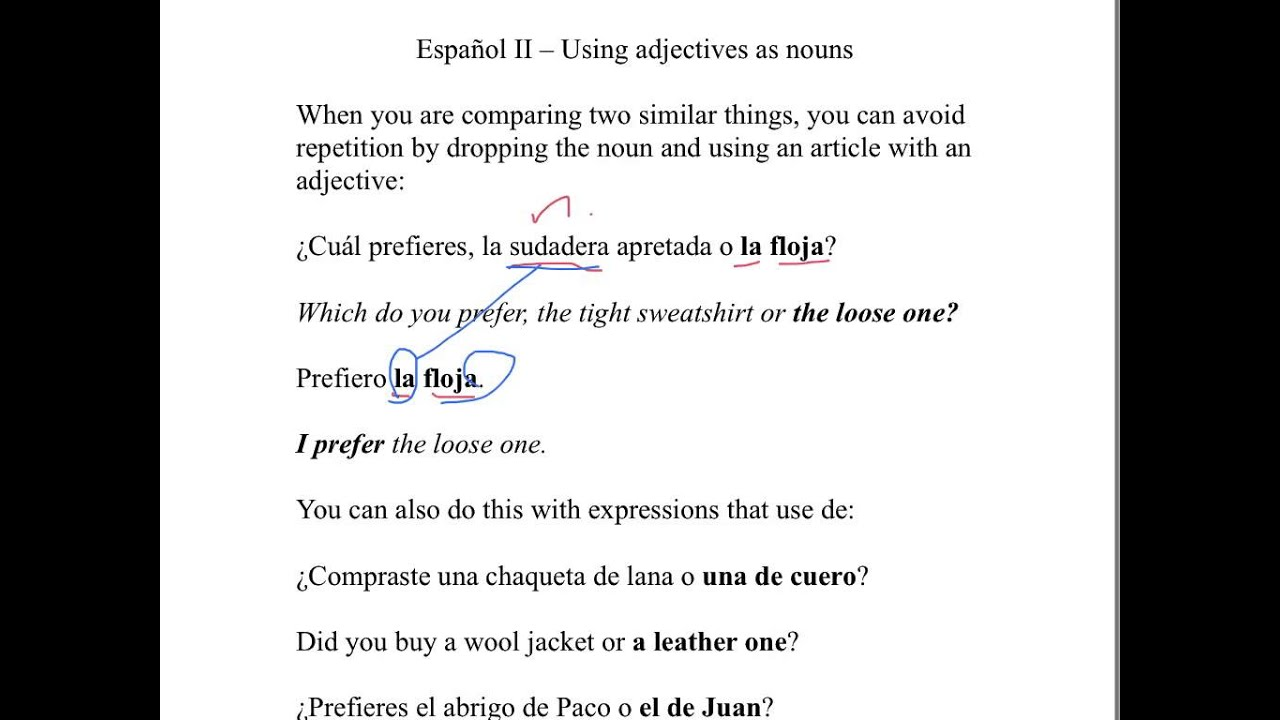 Using adjectives as nouns in Spanish - YouTube