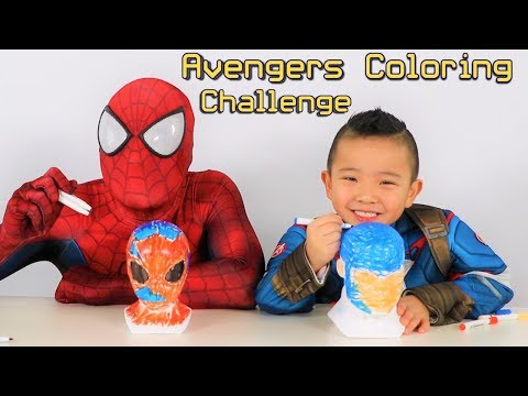 SUPERHERO COLORING CHALLENGE!!Spiderman VS Captain America Avengers Fun With Ckn Toys